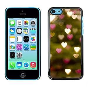"""iPhone 5C , JackGot - Impreso colorido protector duro espalda Funda piel de Shell (Luces del árbol de los corazones verde borrosa"""")"""