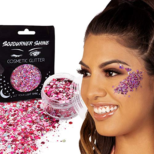 Chunky Cosmetic Holographic Body Glitter – Nail, Hair, Face & Body Glitter | Festival Rave Accessories by SoJourner (Plur Pink)