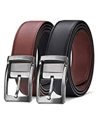 Mens Leather Belt, Reversible Black Dress Belts for Man with Rotated Buckle (black, 110)