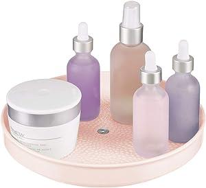 "mDesign Plastic Spinning Lazy Susan Turntable Storage - Rotating Organizer for Makeup, Cosmetics, Nail Polish, Vitamins, Shaving Kits, Hair Spray, Medical Supplies, First Aid - 9"" Round - Pink/Blush"