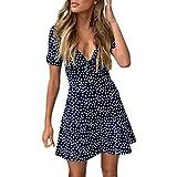 Womens Summer Sexy V-Neck Short Sleeve A-line Dot Print Swing Mini Dress (Navy, S)