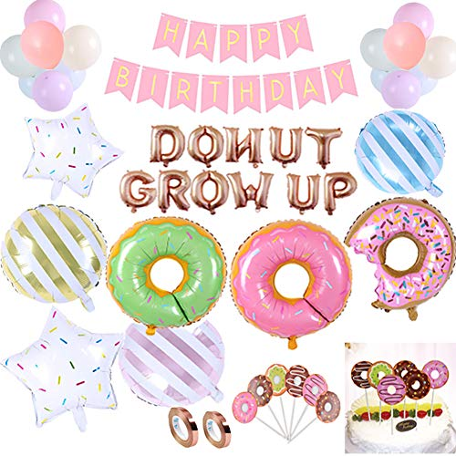 DXary Donut Party Supplies Kit, Donut Grow Up Foil Balloons Birthday Garland and Colorful Latex Balloons Donut Balloon CupcakeToppers for Donut Birthday Party Decorations -