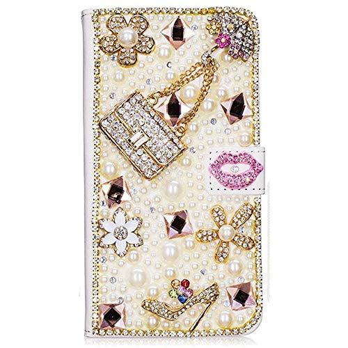 Spritech LG Stylo 3 Case, LG Stylo 3 Plus Case, 3D Handmade Bling Black Butterfly Flowers Design Wallet Credit Card Slots Fold Wallet Case (A30)