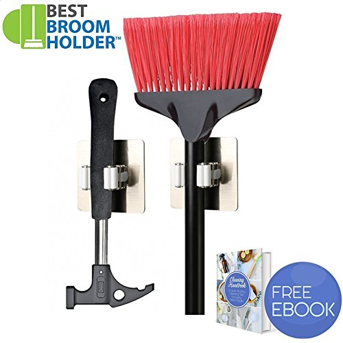 CHRISTMAS GIFT 2 pcs Adhesive Mop Broom Holder Rack Kitchen Organizer Garage Storage | Non slide Easy Installation with Adhesive and E-book Included