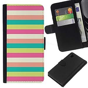 EJOY---La carpeta del tirón la caja de cuero de alta calidad de la PU Caso protector / Sony Xperia Z1 L39 / --Patrón Sunny Beach en colores pastel del trullo