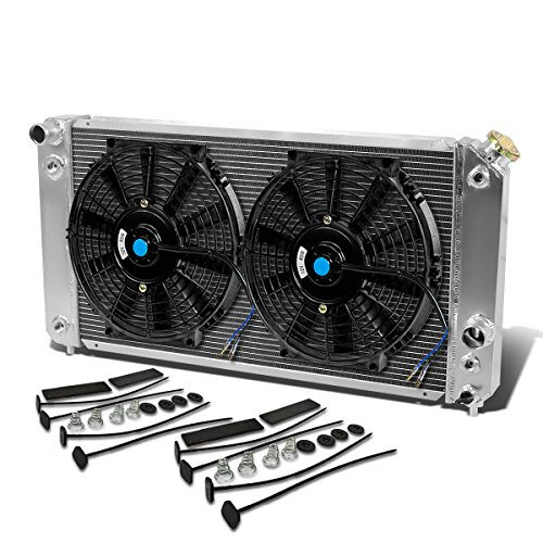 For Sonoma/Jimmy/S10/Blazer 4.3L Aluminum Racing 3-Row Radiator+12 inches Fans (Black)+Mounting Kit