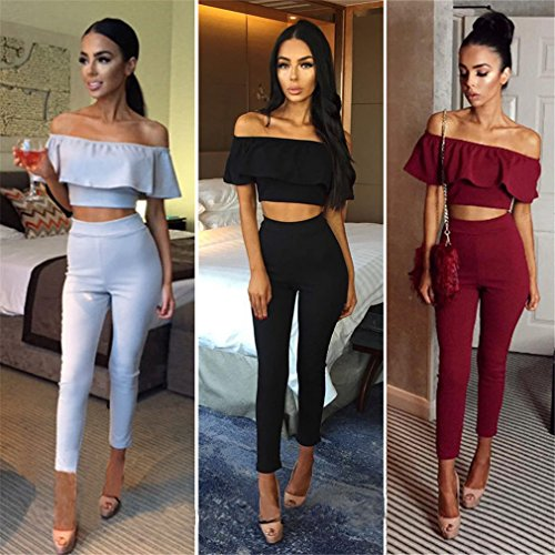37e8bf1d78355a Iumer Women 2 Pcs Tops + Trousers Set Two Piece Out Casual Set Crop Top  Long Wide Leg Pants - Buy Online in UAE. | Office Product Products in the  UAE ...