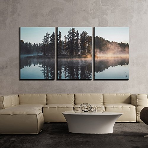 wall26 – 3 Piece Canvas Wall Art – Trees with Reflection on a Perfectly Smooth Lake – Modern Home Decor Stretched and Framed Ready to Hang – 24 x36 x3 Panels