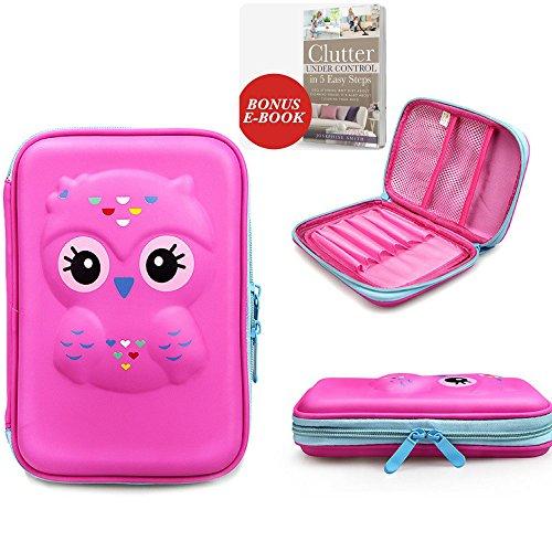 Pencil Case~Hardtop EVA 3D Owl Supplies Pencils Holder with Compartment for Kids School or Kindergarten~resistant Pencil Pouch Bag