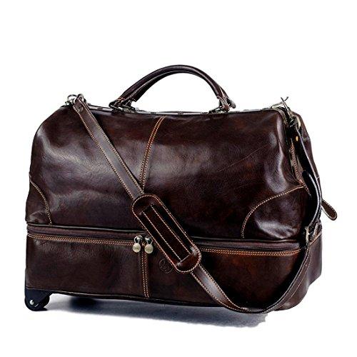 Michelangelo Genuine Leather Calf-Skin Italy - Pilot Bag Trolley Leather 55x28 H42 cm (Dark Brown) - Pilot Trolley