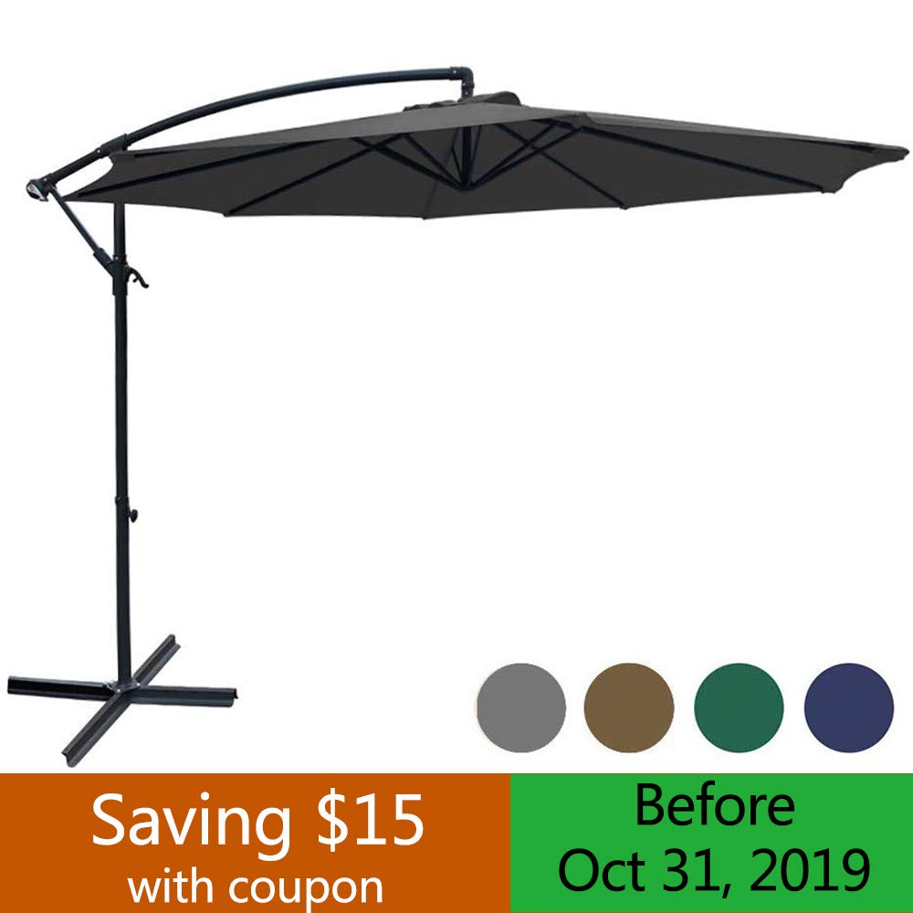 SUNGREEN Offset Patio Umbrella 10ft Hanging Umbrella Outdoor Market Cantilever Umbrella with Umbrella Cover Crank Lift Cross Base for Garden Backyard Deck and Poolside-Grey