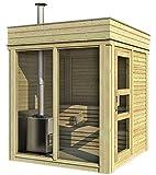 Sauna CUBE finlandese da esterno 2x2m con stufa legna per 6/8 persone in abete di qualità