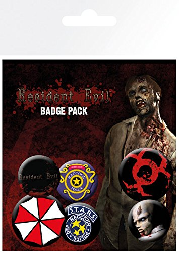 Resident Evil - 6 Piece Button / Pin / Badge Set (Game Cover, Characters, Logos & Icons)