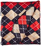Adog Soft Fleece Argyle Dog Blanket, Red and Black