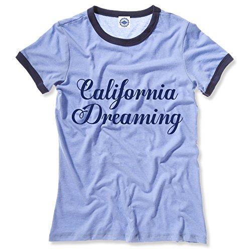 Hank Player U.S.A. California Dreaming Women's Ringer T-Shirt (XS, Heather Blue)