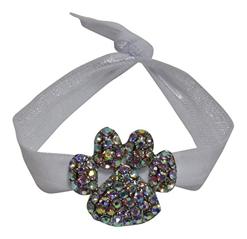 Rhinestone Paw Print Ribbon Ponytail Holder Hair Accessory Sports Mascot (AB Rhinestone on - High Quality Mascot Crystal