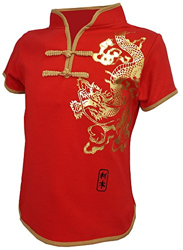 Chinese Traditional Costume For Girls (Amazing Grace Kids' Chinese Traditional Top w Mandarin Collar (Medium, Red Gold Dragon))