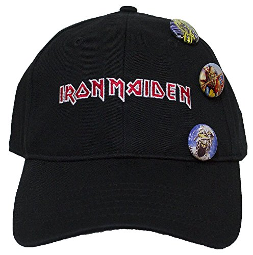 H3 Sportgear, LLC Iron Maiden Logo with Buttons Black Dad Hat Standard