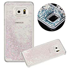 Galaxy S6 Edge Plus Case, TIPFLY Flowing Liquid Floating Luxury Bling Glitter Sparkle Cover with Love Heart Powder, Clear Dual Layer Hard Plastic Case for Samsung Galaxy S6 Edge Plus - Pink and White