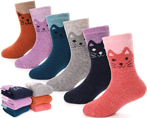 Children Wool Socks For Boy Girl Kids Toddler Thick Thermal Warm Cotton Winter Crew Socks 6 Pack (Cat, 8-12 Y)