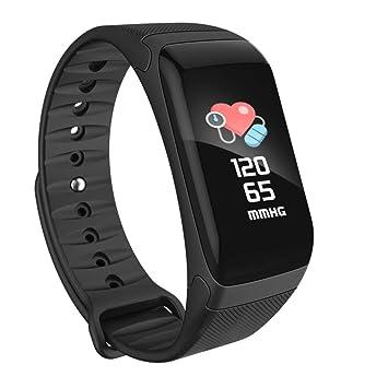 LANMEI Pulsera Inteligente Tensiómetro Reloj Podómetro,Black: Amazon.es: Deportes y aire libre