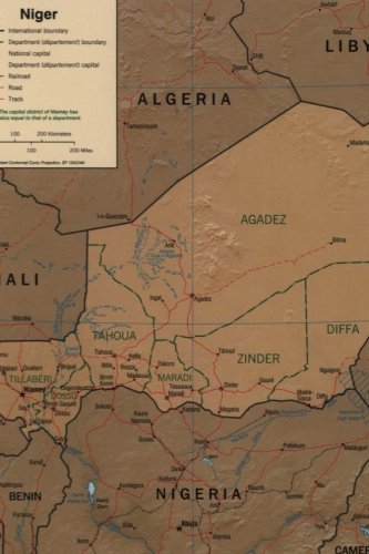 A Map of Niger in Africa Journal: Take Notes, Write Down Memories in this 150 Page Lined Journal