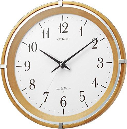 シチズン 電波 掛け時計 アナログ エフライトM492 針が 光る 暗所 ライト 自動 点灯 連続秒針 木 茶 (薄茶) CITIZEN 8MY492-007 B00L55DOD4薄茶