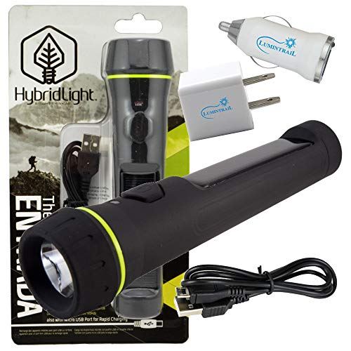 Hybridlight Entrada Solar Rechargeable Flashlight 80 Lumens Bundle with Lumintrail USB Wall and Car Adapters