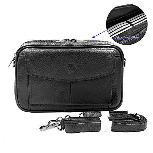 Mens Handbag Genuine Leather Crossbody Shoulder Messenger Bag Organizer Checkbook Wallet Purse (Card Black)