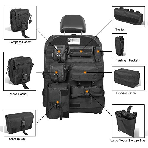 Opall Universal Front Seat Cover with Storage Bags Multi-Compartments Holder Pockets Molle Pouches Stuff Organizer for Jeep Wrangler JK JL...