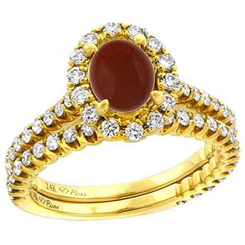 (14k Yellow Gold Diamond Genuine Brown Agate Halo Engagement Ring Set 2 Piece Oval 7x5mm, size 9.5 )