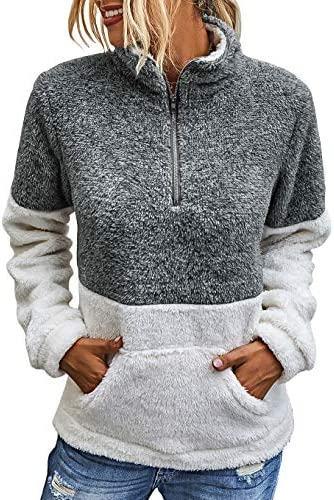 BTFBM Womens Sherpa Pullover Quarter Zip Long Sleeve Fluffy Soft Fleece Jackets Sweaters Sweatshirts Hoodies Outwear Coat