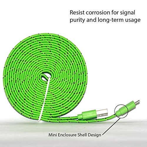 Samsung USB Charger, Nue Design Cases TM (10 FT) Braided Tangle Free Flat High Quality Super Durable Micro B USB Charging / Data Sync Cable FOR SAMSUNG GALAXY S3, S4, S5, NOTE 2, NOTE 3, NOTE 4 - (LIME GREEN) (Ace 4 Lite Duos Case)