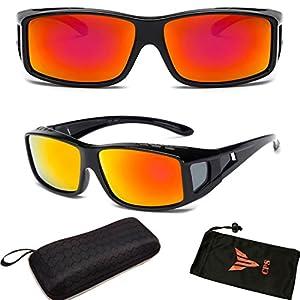 CPS Fit Over Glasses Wrap Over Fitover Prescription Blocking Glare UV Polarized Protection Lenses For Men Women Unisex + FREE Hard Case (Fire Red Lenses, 52)