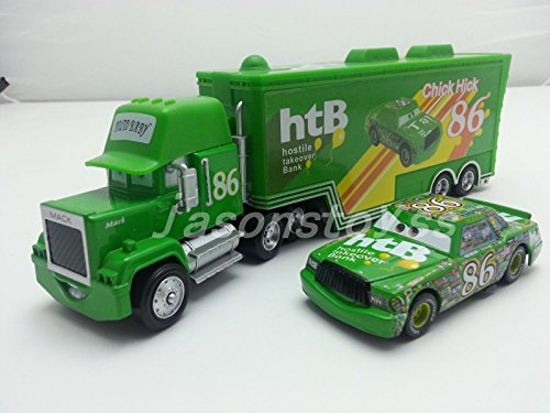 86 Mack Racer's Truck & Chick Hicks Toy Car 1:55 Loose New (Magic Dragon Critter)