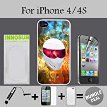 Interstellar White Racing Helm Custom iPhone 4 Cases/4S Cases-Clear-Rubber,Bundle 3in1 Comes with HD Screen Protector/Universal Stylus Pen by innosub