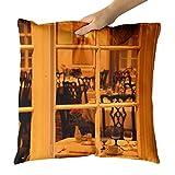 Westlake Art - Window Restaurant - Decorative Throw Pillow Cushion - Picture Photography Artwork Home Decor Living Room - 18x18 Inch (FC3A-C9B73)