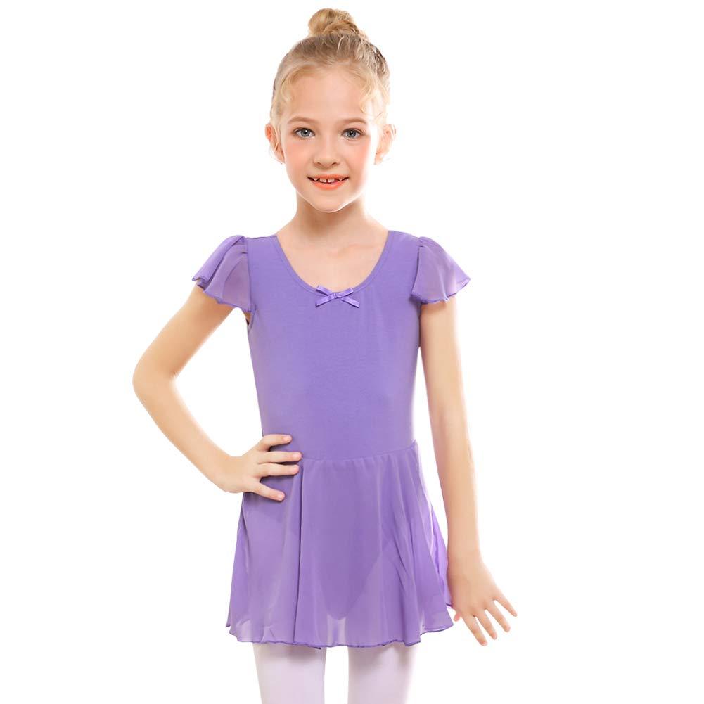 STELLE Girl's Ruffle Sleeve Skirted Leotard, Gymnastics Ballet Dance Dress for Toddler/Little Girl/Big Girl(85cm, Purple)
