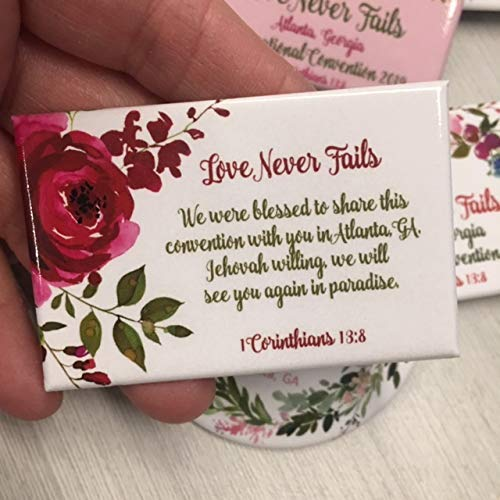 ATLANTA GEORGIA GA - 50 Lapel Pins Buttons - Love Never Fails International  Convention of Jehovah's Witnesses souvenirs gifts, jw gifts jw shop