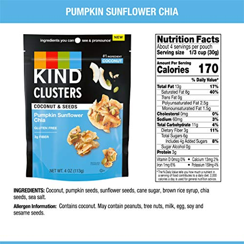KIND Coconut Snack Clusters, Sunflower Pumpkin Chia, Gluten Free, Low Sugar, 4 Ounce Bag, 8 Count
