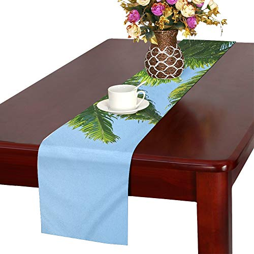 Jnseff Tree Green Wood Tissue Plant Nature Leaves Table Runner, Kitchen Dining Table Runner 16 X 72 Inch For Dinner Parties, Events, Decor