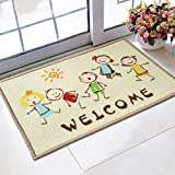 Doormat 40x60cm Cartoon Kids printed tapetes bath mat for Children living room bathroom carpet nylon mats Wholesale rugs (welcome design)