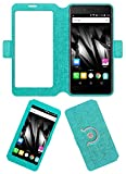 Acm SVIEW Window Designer Rotating Flip Flap Case for Micromax Bolt Supreme 2 Q301 Mobile Smart View Cover Stand Turquoise