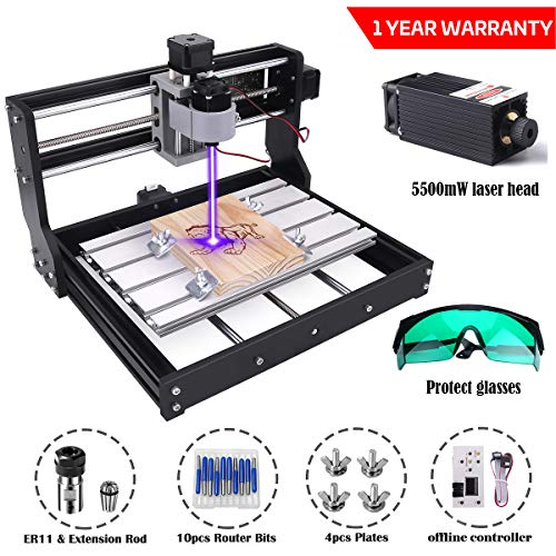 MYSWEETY DIY CNC 3018-PRO 3 Axis CNC Router Kit with 5500mW 5.5W Laser Module + PCB Milling, Wood Carving Engraving Machine with Offline Control Board + ER11 and 5mm Extension Rod