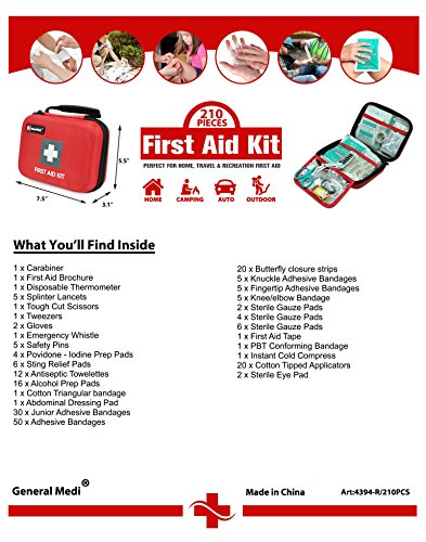 First Aid Kit,210 Pieces Survival Kit Bag - Includes Instant Cold Pack,Thermometer,Scissors,Bandages,Whistle for Travel, Home, Office, Vehicle,Camping, Workplace & Outdoor (Red) by General Medi (Image #6)