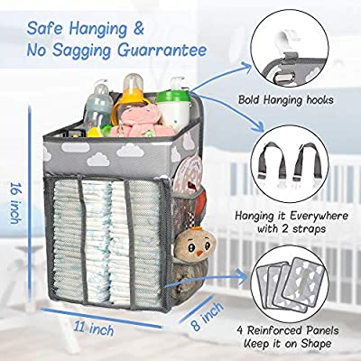 Crib Selbor Baby Nursery Organizer and Diaper Caddy Playard or Wall Nursery Organization /& Baby Shower Gifts for Newborn Hanging Diaper Stacker Storage for Changing Table Cloud