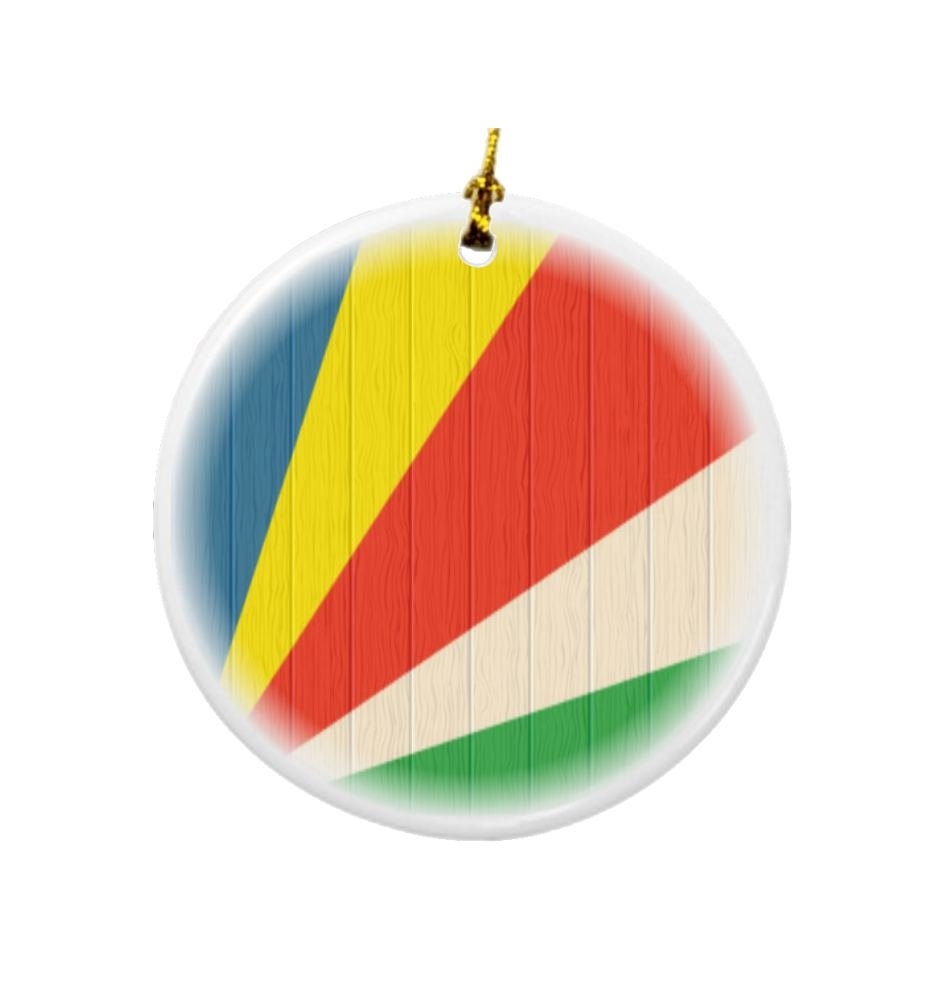 Rikki Knight Seychelles Flag on Distressed Wood Design Round Porcelain Two-Sided Christmas Ornaments by Rikki Knight (Image #1)
