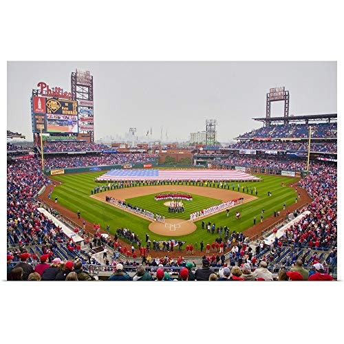 (Great Big Canvas Poster Print Entitled Opening Day Ceremony Featuring Large American Flag in Centerfield, Citizen Bank Park by Panoramic Images 60