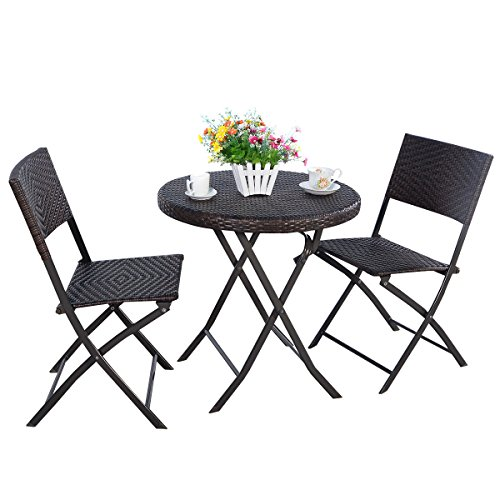 Tangkula Outdoor Patio Bistro Set Foldable Chairs Table for Backyard Lawn Balcony Pool Outdoor Modern Rattan Wicker Dining Set Patio Furniture Set Outdoor Patio Conversation Set Round
