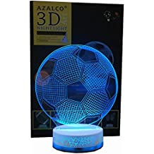 AZALCO 3D Illusion LED Night Lamp Soccer with Build-in Battery